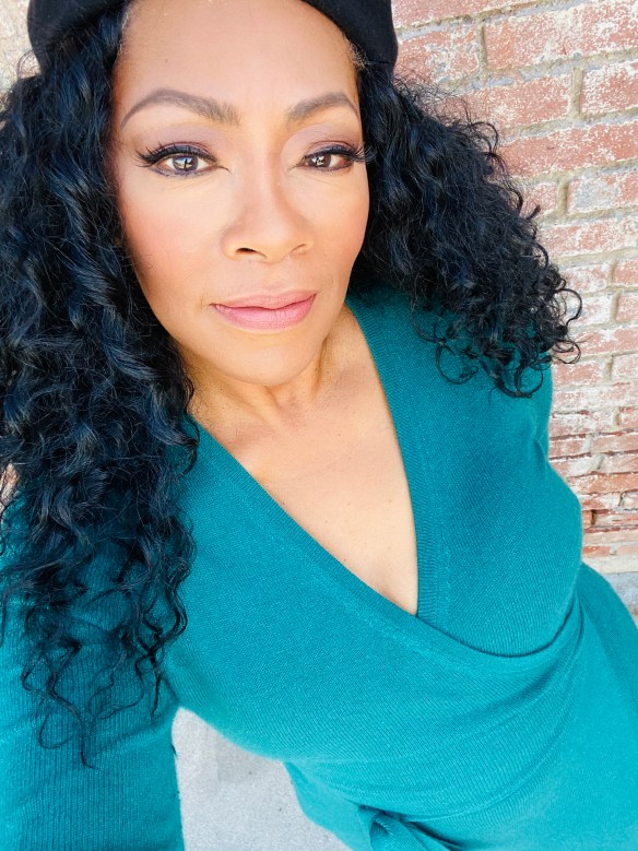 Jody Watley in Teal DVF Wrap Dress 2020