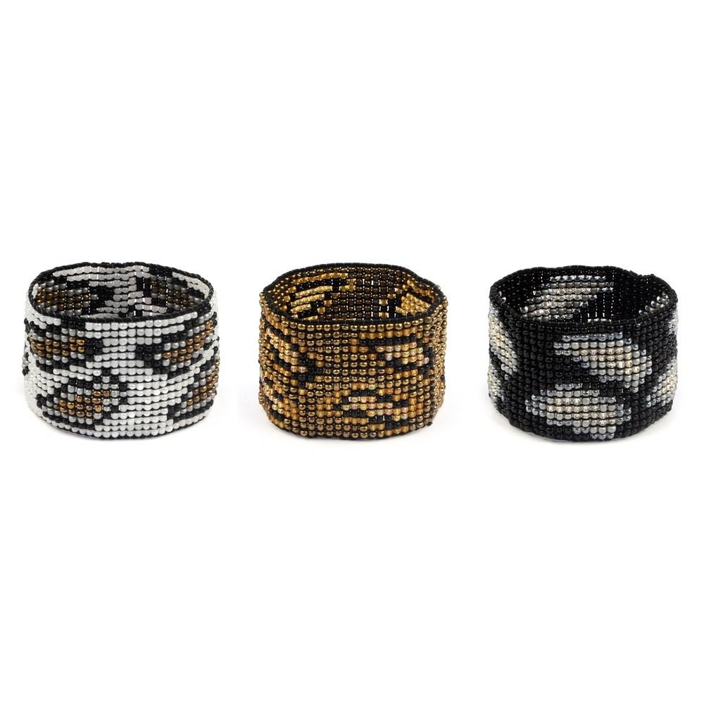 Joe Cool Bracelet Hand Carved Stripe Barrel Made with Bone