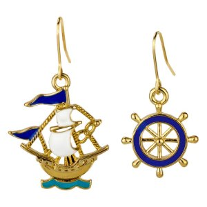 b724689a4 Drop Earring Sail Boat & Ship's Wheel Made With Tin Alloy