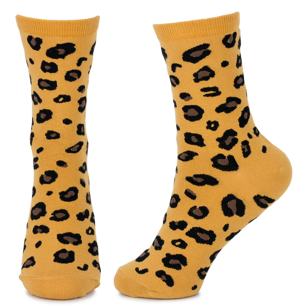 Socks Leopard Print Cuff Made With Cotton /& Spandex by JOE COOL