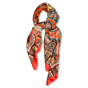 6937bfade Scarf Red Vibrant Paisley Made With Silk & Polyester
