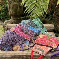 New masks - a beautiful batik print mask with matching pouch.