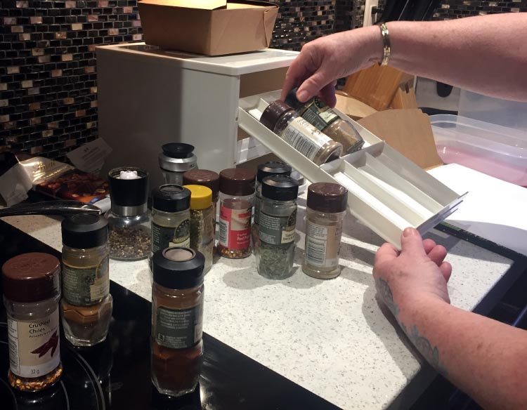 How To Start Your RV Living Adventure: Tips for Down-Sizing and Getting Organized. Maggie organized all of our spices from a large cupboard into a compact little plastic container