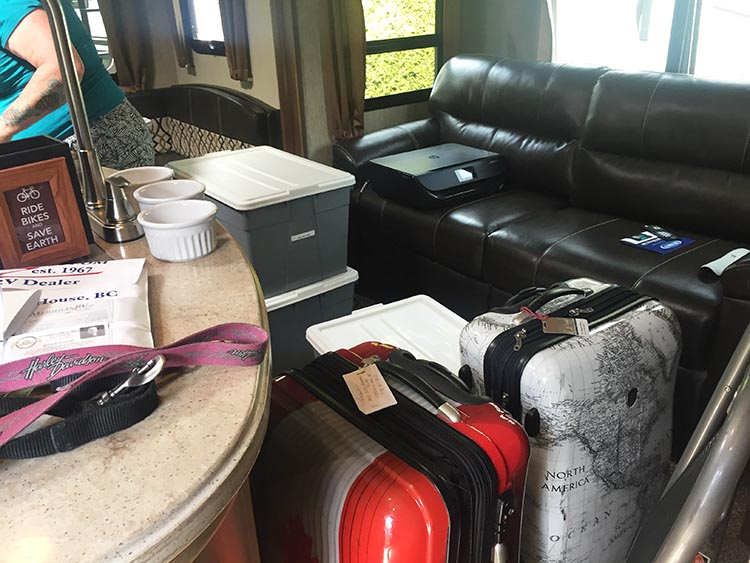 Moving into our Fifth Wheel to start our RV life. Seeing all of our stuff crammed into the Fifth Wheel was quite a sobering experience. We realized we had not given enough stuff away