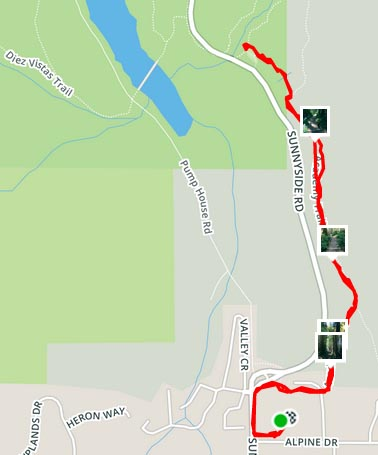 Cycling near Buntzen Lake, British Columbia, Canada. Map of the Academy Trail near Buntzen Lake, as recorded on Strava