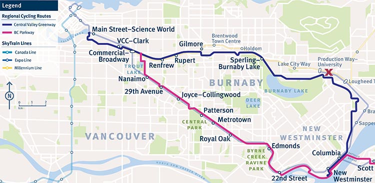 Review of the Burnaby Cariboo RV Park. This map shows the Central Valley Greenway bike route. Graphic credit Translink. X marks the spot where the Burnaby Cariboo RV Park is located