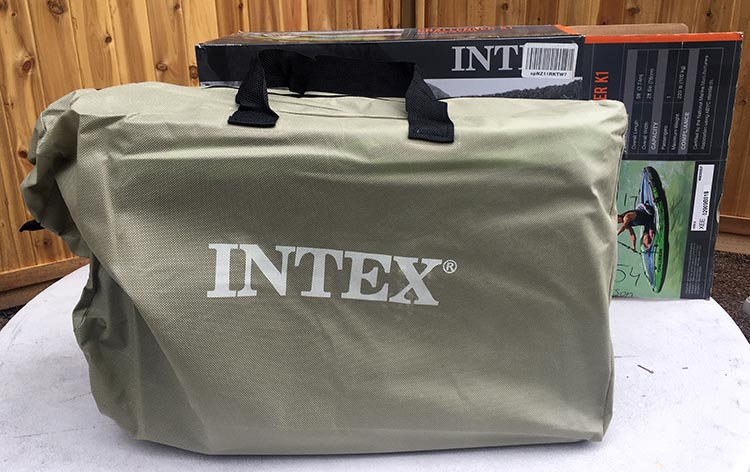The Intex Challenger K1 kayak also ships with a handy carry bag