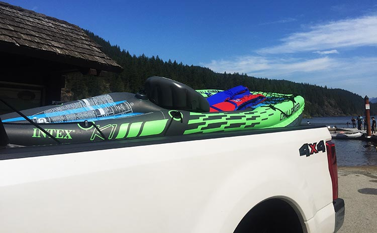 Intex Challenger K1 Inflatable Kayak vs Advanced Elements Inflatable Lagoon Kayak. Turns out, transporting the kayaks inflated was a bad idea!