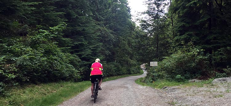 Biking and Hiking Near the Anmore RV Park in the Buntzen Lake Area, British Columbia. Biking in the early morning on restricted roads, we have the world to ourselves!