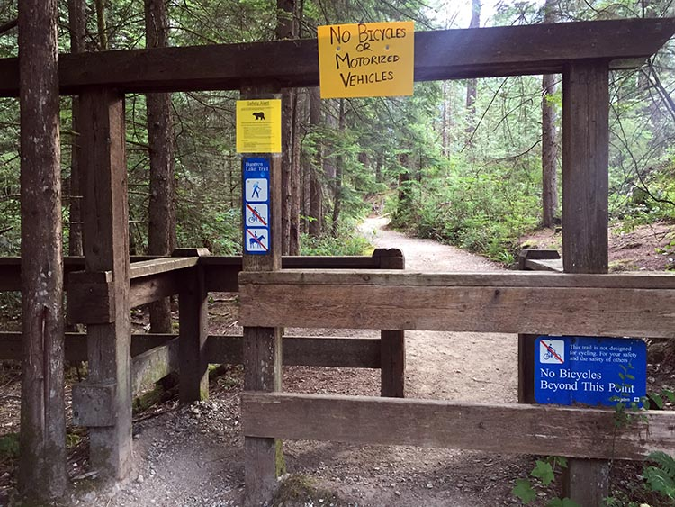 Cycling near Buntzen Lake, British Columbia, Canada. Some of the trails around Buntzen Lake prohibit bikes
