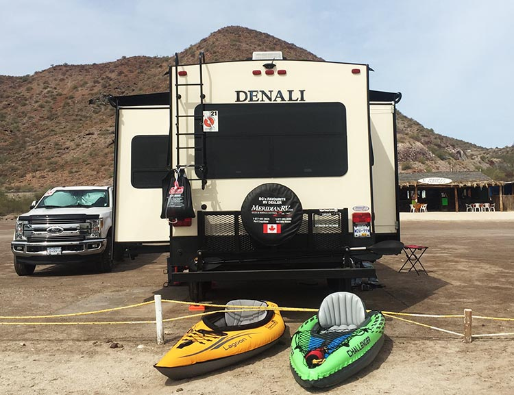 Here is one of our Intex Challenger K1 kayaks on Santispac Beach in Baja California Sur, Mexico. It performed very well in the huge natural bay on the Sea of Cortez