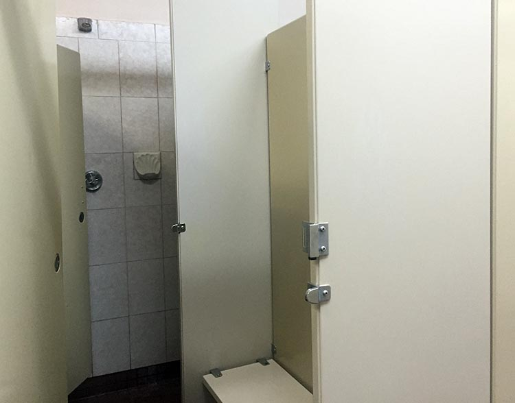 Review of the Burnaby Cariboo RV Park, Near Vancouver. The washrooms and showers are older, but well-maintained and always clean. This photo shows how each private shower is attached to a small private change room