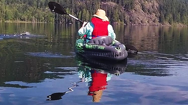 Review and Assembly of the Intex Challenger K1 Kayak – the Best Lightweight, Budget, Inflatable Kayak for RV Living. Here's Maggie in her kayak. On her left is a swimmer - we were astonished to see him swimming right across Buntzen Lake!