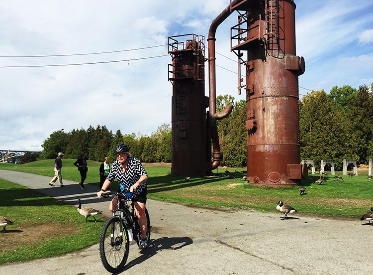 What Can You Do When Your RV is Having Repairs? Here's Maggie riding her Haibike through the Gas Works Park