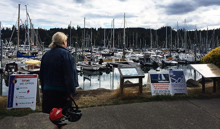 What Can You Do When Your RV is Having Repairs? Here's Maggie next to the water on Bainbridge Island