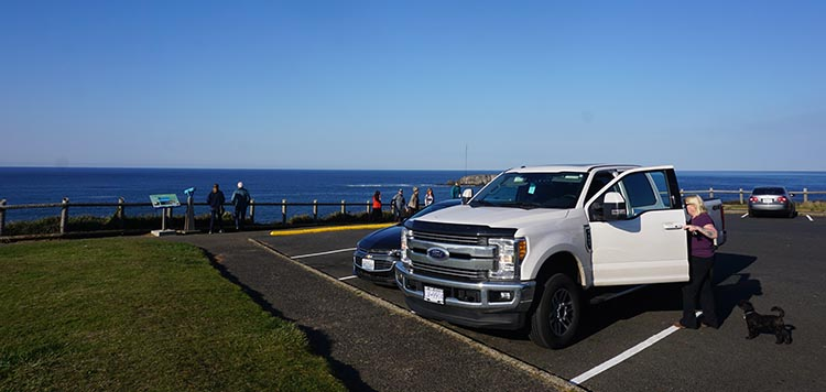 Review of Beverly Beach State Park, near Newport, Oregon. Our truck at the Devil's Bowl parking