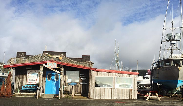 Our Experience of RV Camping at Beverly Beach and Humbug Mountain State Parks, Oregon Coast. We went to Griff's restaurant, which is in the oddest little building right down on the dock at the Port of Port Orford