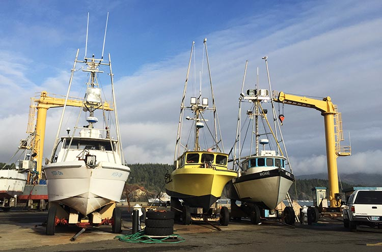Our Experience of RV Camping at Beverley Beach and Humbug Mountain State Parks, Oregon Coast. The only way boats enter or leave the port of Port Orford is by being hoisted down or up by one of the two giant hoists