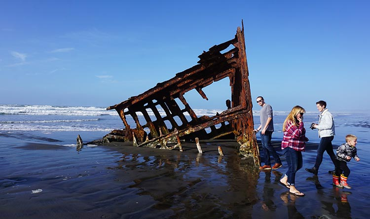Bike Trails at Fort Stevens State Park in Oregon. On this beach, you can see what is left of the wreck of the merchant sailing ship, the Peter Iredale