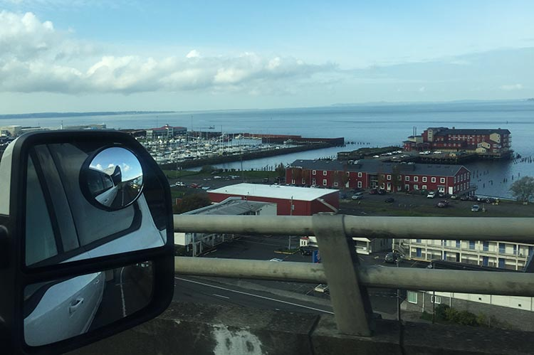 Our Trip to Fort Stevens State Park, Oregon. Our RV adventure begins! Looking down on Astoria from the Astoria-Megler Bridge
