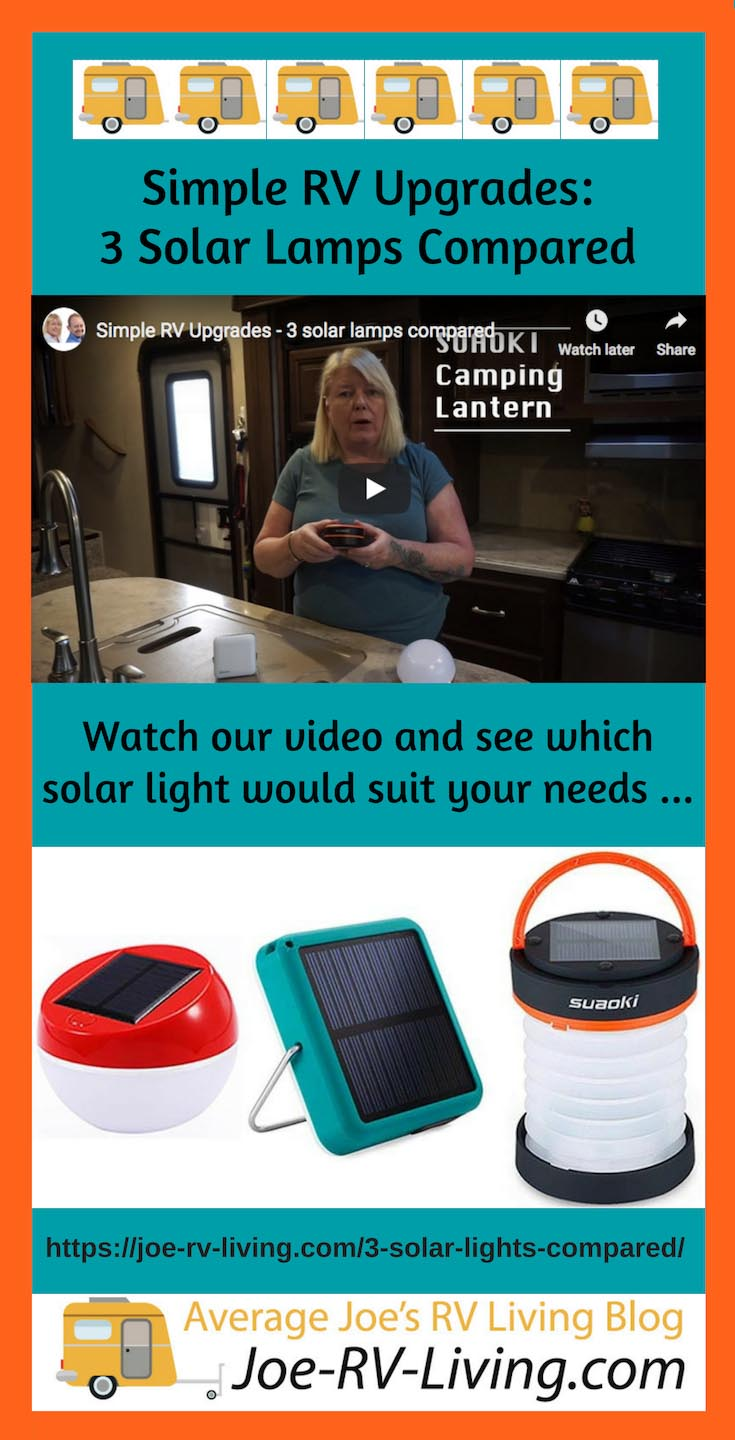 Simple RV Upgrades: Three Solar Lights for RV Living Compared - Video and post.