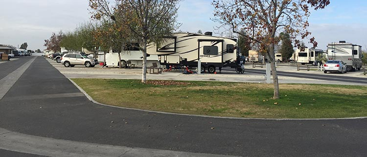 RV Camping in California. Our rig parked at A Country RV Park in Bakersfield, California