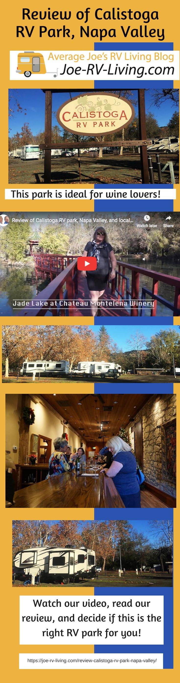 Review of Calistoga RV Park, Calistoga, Napa Valley, California