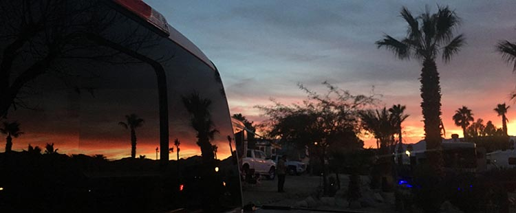 RV Camping in California. Sunset reflected on our truck window at Catalina Spa RV Resort