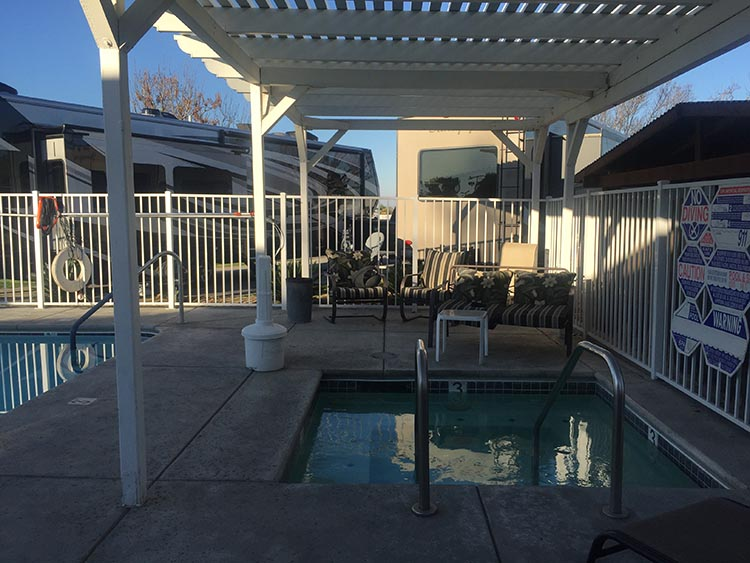 Review of A Country RV Park, Bakersfield, California. The unusable, over-chlorinated hot tub at A Country RV Park
