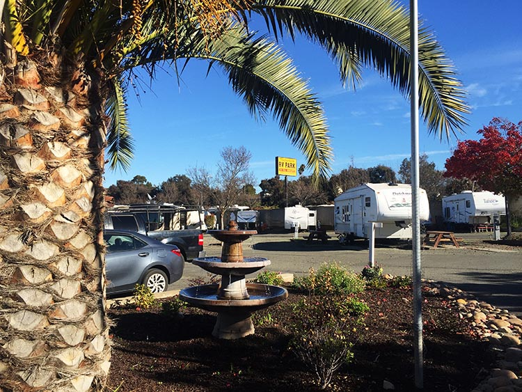 Review and Video of Tradewinds RV Park in Vallejo, near San Francisco. It took Joe some creative photography to come up with this attractive photo of the Tradewinds RV Park. However, someone has made an effort to try and make this park more attractive than your average parking lot