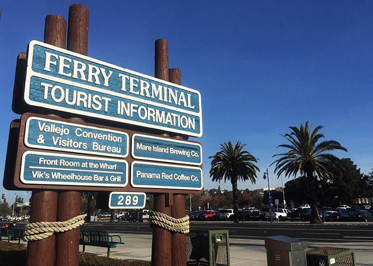 Review and Video of Tradewinds RV Park in Vallejo, near San Francisco. Signage at the Vallejo Ferry Terminal. The very crowded parking lot is in the background. I would not bank on finding a parking spot for a large tow vehicle here - so we were glad we took a cab
