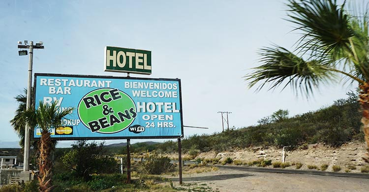 The sign post outside the Rice & Beans RV Park in Baja California Sur