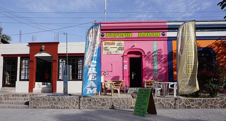 Day 5 of our RV Trip with Baja Winters: San Ignacio to Santispac Beach, Bahía de Concepción, Baja California Sur, Mexico. This is the charming ice cream shop in the village of San Ignacio, Baja California Sur