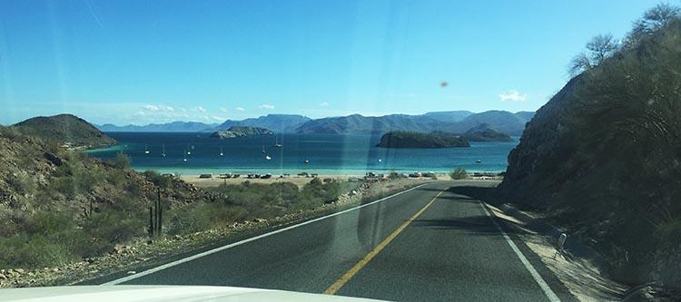 Day 5 of our RV Trip with Baja Winters: San Ignacio to Santispac Beach, Bahía de Concepción, Baja California Sur, Mexico. This is the view that greets you when you get close to Santispac Beach
