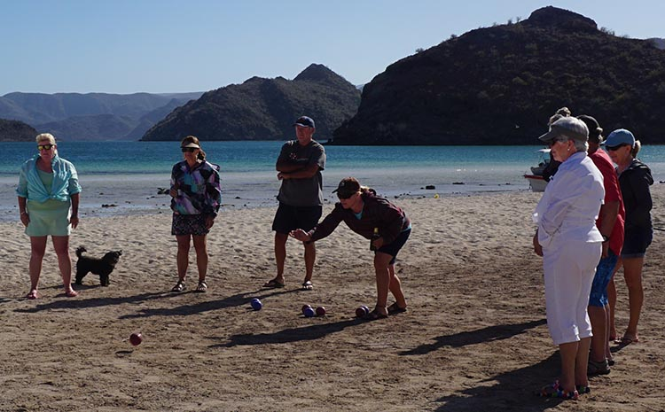 Dry RV Camping on Santispac Beach, Bahia Concepcion, Baja California Sur, Mexico. One day our group ended up playing a very fun game of bocce ball, with a friendly Canadian couple joining in.