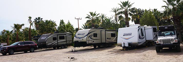 Some of our groups' rigs parked at the Rice and Beans RV Park in San Ignacio. That's Julie's (from Colorado) on the left, Tom and Shawna's (from California) in the middle, and Jim and Donna's (from Colorado) on the right