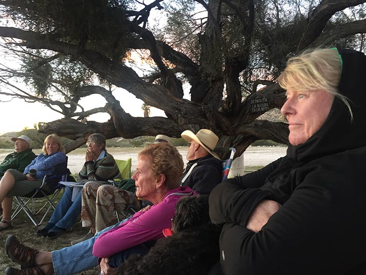 Maggie at the sunset meeting at Rancho Santa Inez Campground in Catavina