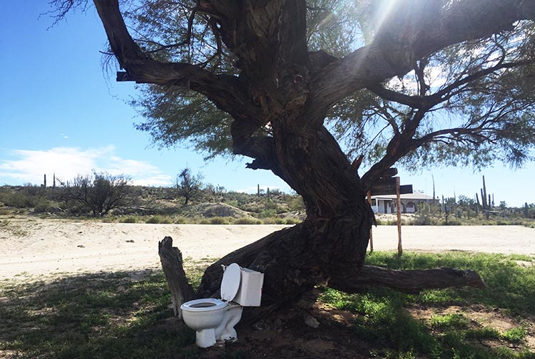 An abandoned toilet at Rancho Santa Inez Campground in Catavina