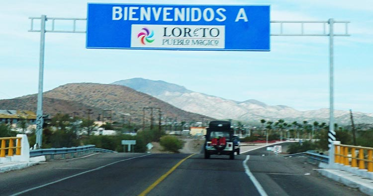 Driving into Loreto on Highway 1