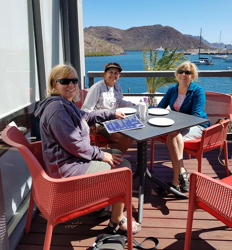 Hanging out with some of the group in Loreto - Donna, Nancy, and Juli - Photo supplied by Juli Cooley