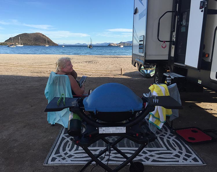 Dry RV Camping on Santispac Beach, Bahia Concepcion, Baja California Sur, Mexico. For us, the most fun activity on Santispac Beach was simply relaxing and enjoying being on such a beautiful beach.