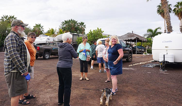 Some of our group gathered at Rivera Del Mar Trailer RV Park in Loreto. In the foreground, Joe, Kathy, Myrna, Alison, Becky, and Maggie
