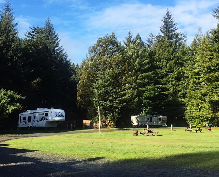 Review of Mystic Forest RV Park, near Klamath, California. The sites on the periphery are back-in; most have some privacy, provided by trees