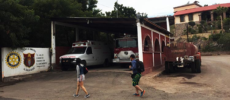 The fire station in Mulege. To find the best grocery store in Mulege, go down that road on the right