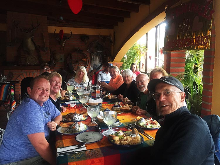 Here's our group celebrating Jerry's birthday at the Los Equipales Restaurant