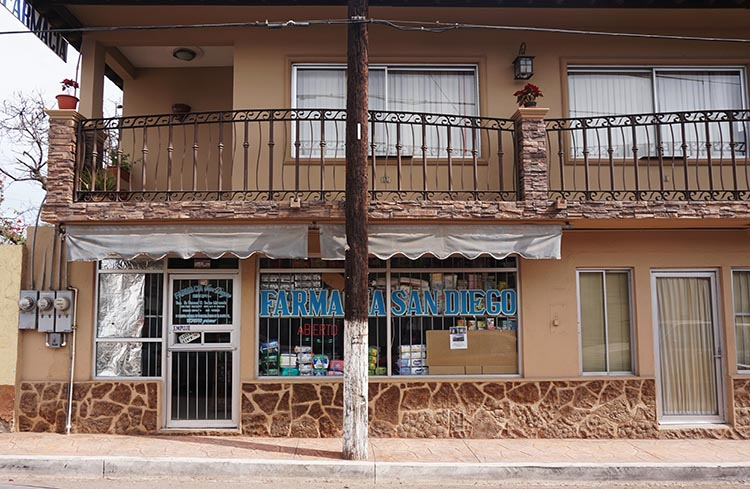 The Pharmacia San Diego in Mulege, where you can get most medications