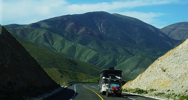 Our Return RV Caravan Trip from Baja California: Santispac Beach to Tecate. You only see this much greenery in northern Baja