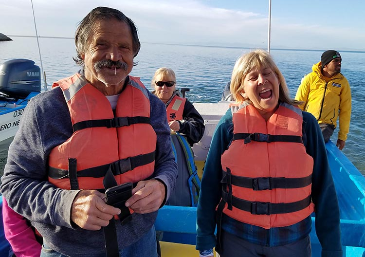 Our Return RV Caravan Trip from Baja California: Santispac Beach to Tecate. Some of our group about to go whale watching. Pictured here are Richard, Donna and Juli - Photo supplied by Juli Cooley