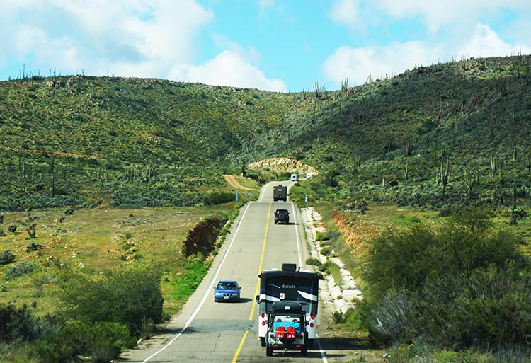 Our Return RV Caravan Trip from Baja California: Santispac Beach to Tecate. And the further north we went, the more traffic we encountered