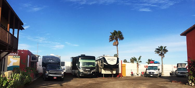 This is the parking for large rigs. That's our Denali in the middle, squished between a wall and Goliath (Joe & Kathy)